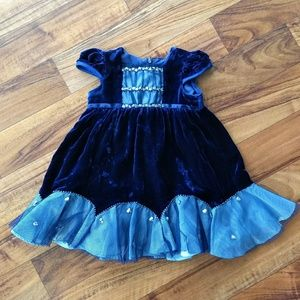 Biscotti blue velour formal dressy dress w/ ribbon